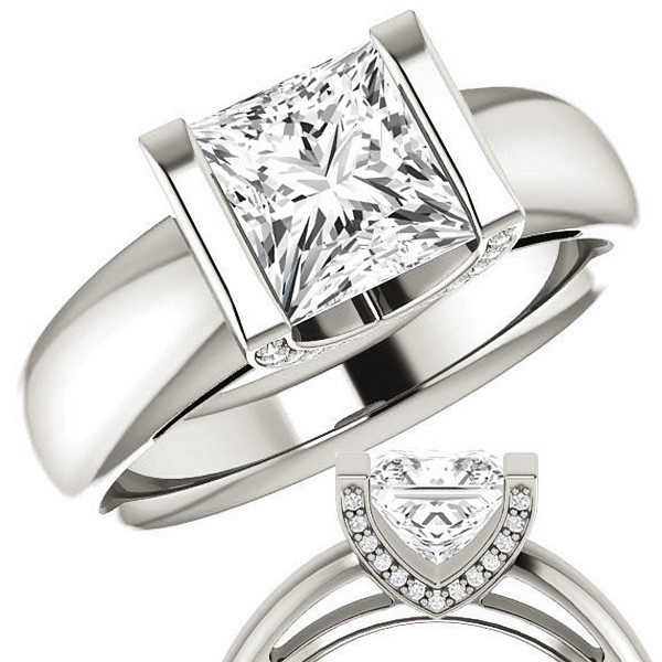 Princess Cut Moissanite Modern Engagement Ring Enr022 Pr Moissaniteco Com