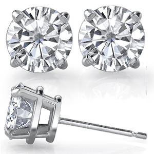 0.66 Cttw Round Cut White Moissanite Stud Earrings 14K Yellow Gold Over