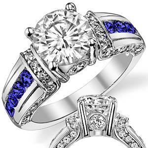 Round Moissanite Sapphire Ruby Moissanite Engagement Ring Eng814 Moissaniteco Com