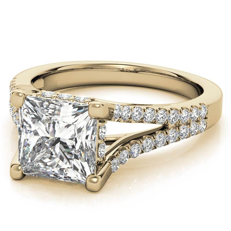 Princess Split Shank Trellis Moissanite Wedding Set ...