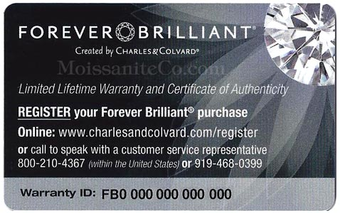 Forever Brilliant limited lifetime warranty and certificate of authenticity