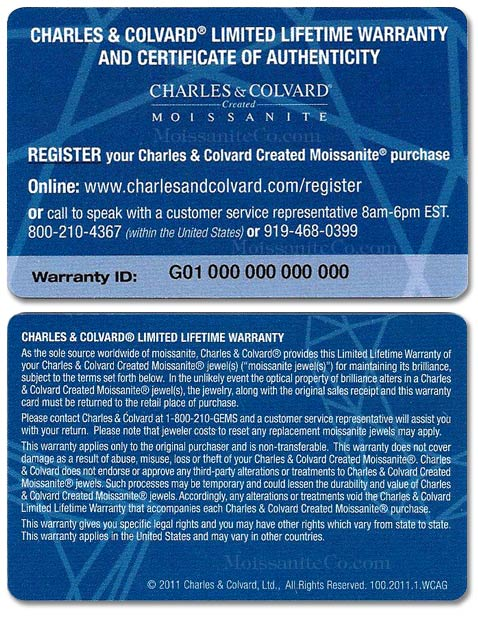 Charles & Colvard limited lifetime warranty and certificate of authenticity